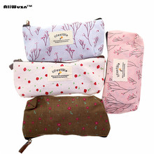 HOT Cute Floral Flower Canvas Zipper Pencil Cases Korea Pen Bags School Supplies, Can Be Used As An Zero Wallet & Cosmetic Bag