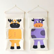 Zakka Style Cartoon Animal Door Hanging Bag Linen Cotton Hanging Organizer Wall Pockets for Kids Room #100