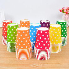 10pcs Boy Girl Baby Happy Birthday Party Decoration Red Yellow Green Orange Blue Dot Kids Supplies Favors Driking Paper Cup