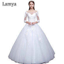 Lamya Real Photo Princess Elegant Wedding Dresses With Long Lace Sleeve High Quality Ball Gown Bridal Gowns Vestidos De Noiva