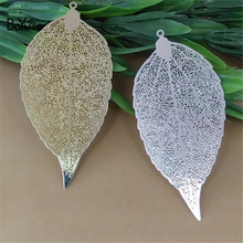 BoYuTe 10Pcs 78*38MM Big Brass Filigree Leaf Charm 7 Colors Diy Etched Sheet Pendant Charms for Necklace Jewelry Making