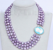 "Baroque 16""-18"" 3row 9mm lavender pearls necklace seashell clasp j10083  Factory Wholesale price Women Gift word Jewelry"