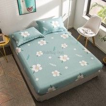 Spring Green Flower Bedding Set 100% Cotton Fitted Sheet Twin Full Queen Bed Sheet with Elastic Band Mattress Cover Protector(China)
