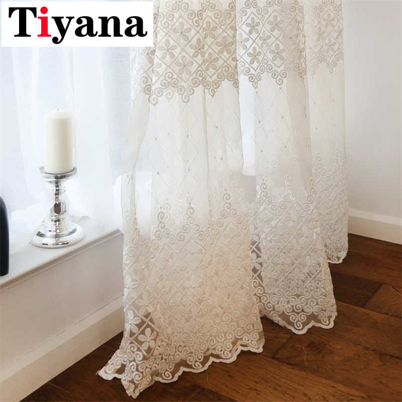 Luxury Sheer Voile Curtains For Living Roon Bedroom Balcony Solid Embroidered Window Screening Drapes White Cortinas HP009D3