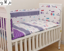6PCS  Baby Bedding Crib Set Baby Bed Accessories Comforter 100% Cotton ,include:(bumpers+sheet+pillowcase)