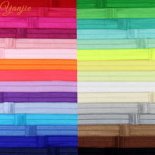 "30pcs/lot Boutique 5/8"" Solid FOE Hair Band Shimmery Elastic Headband,For Girls And Kids DIY Headband Hair Bows Hair Accessories"