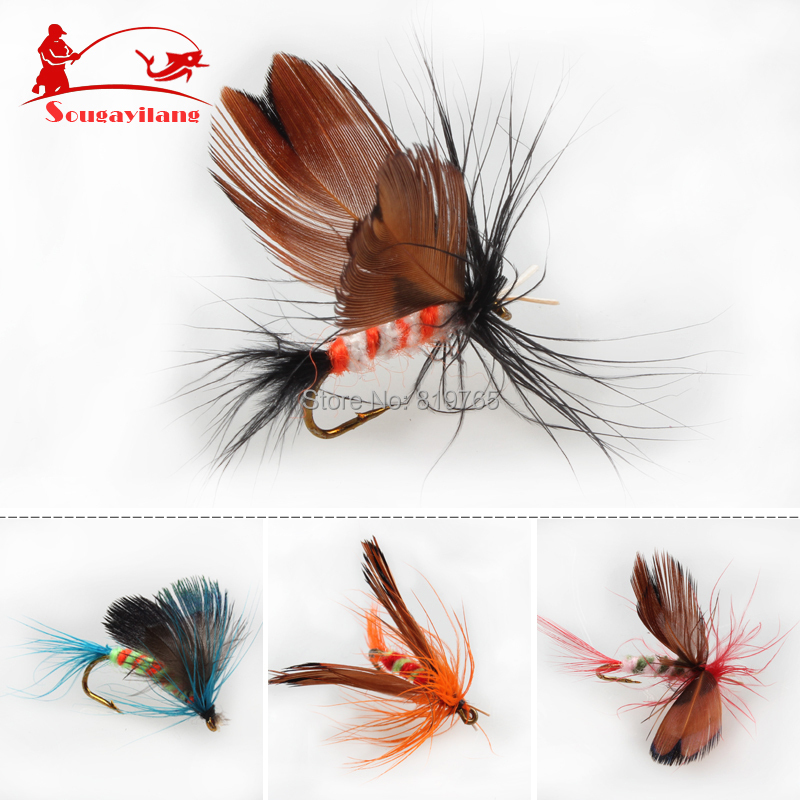 Promotion Fly fishing Hooks 12pcs/set Butterfly Style Salmon Flies Trout Single Hook Dry Fly Fishing  Lure Fishing Tackle<br><br>Aliexpress