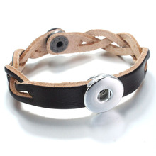 6colors Retro Genuine Leather 18mm Snap Button  bracelet B322 watches women one direction Unisex DIY jewelry love bangle