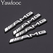 Yawlooc 3D Metal Car Emblem  3D Chrome Finish AMG Badge Mini Sticker Use For Benz Steering wheel Spearker Car Door