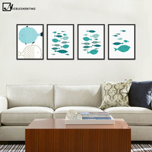 NICOLESHENTING Marine Animal Fish Minimalist Art Canvas Poster Painting Wall Picture Print Modern Home Kids Room Decoration(China)