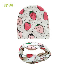 Newborn photography props Cotton Baby hat Kids hat Winter children scarf collar Animal print Infant hats set boys girls baby cap(China)