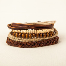 Punk Multilayer Rope Hemp Wood Beads Bracelets Leather Braided Vintage Nomination Braclet For Male Wristband Jewelry