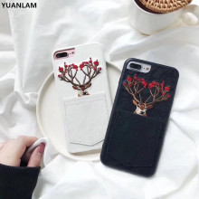 Fashion denim Case 3D embroidery phone Case for iPhone 7 7plus 6 6plus 8 8 plus Sika deer Phone Back Cover with Card slot