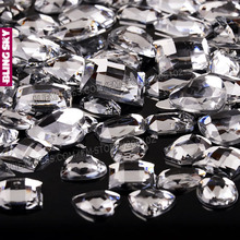 Mix Sizes Shapes 100Pcs/Lot,Big Size Flat back Rhinestone Clear Acrylic Resin Non Hotfix Big Crystals for DIY Wedding 3D Nail