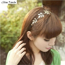 Women Hair Accessories Gold Olive Leaves Leaf Stretchy Hair Head Band Grecian Style Coleteros Pelo Mujer #1023