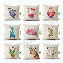 2016 45x45 New Arrival Cartoon Style Color Animal Housewear Chair Cushion Throw Pillow Cojines Almofadas Cotton Linen Square(China)