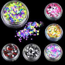 6 bottles/set Mini Colorful Nail Glitter Powder Sheets Nail Dust Tips Mixed Round Nail Art Decoration DIY Nails Manicure WY598