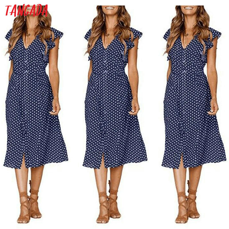 HTB1rw.YkOAnBKNjSZFvq6yTKXXaC - Tangada polka dot dress for women office midi dress 80s 2018 vintage cute A-line dress red blue ruffle sleeve vestidos AON08