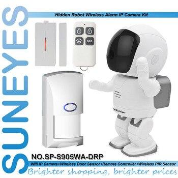 SunEyes SP-S905WA-DRP Wifi Alarm Robot IP Camera Wireless 1.3MP HD with 1pcs Door Sensor+1pcs Remote Control+1pcs PIR Sensor