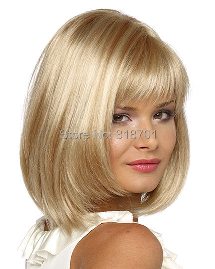 Blonde Wig Silky Straight Short CLASSY Bob style Synthetic wigs for women free shipping<br><br>Aliexpress