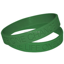 1pc green one life one chance wristband silicone bracelets free shipping(China)