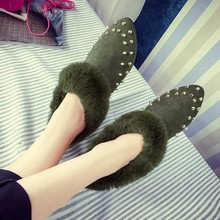 Fashion Women Rivets Flat Shoes Comfortable warm Peas Shose