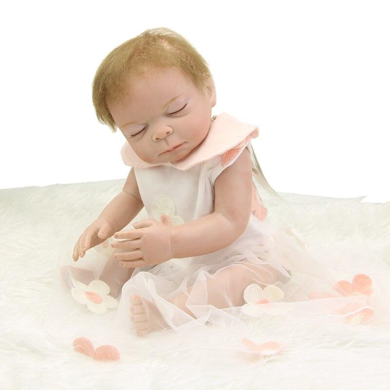 Lifelike Sleeping Girl Baby Dolls 20 Inch 50 Full Silicone Vinyl Alive Realistic Babies Girl With Hair Kids Birthday Xmas Gift<br><br>Aliexpress