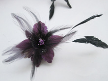 2017 Purple Flower Hair Accessories Woman Decoration Brooch Wedding Party Barrettes Hair Clip Bridal Wedding Feather Headdress(China)