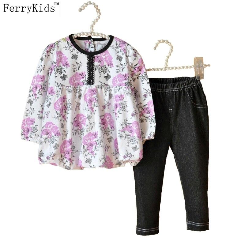 Baby Girls Clothing Set Autumn Spring Printing Chiffon Shirt + Jeans Toddler Girl Clothing Set Kids Kleding Baby Clothes Sets<br><br>Aliexpress