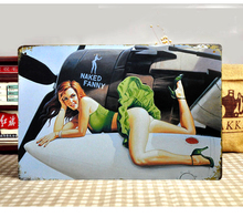 "New arrival ""Sexy lady nude on plane"" Wall Vintage decor Metal art painting house bar coffee decoration 20X30 CM Free shipping"
