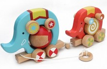 Wooden Pull Along Toys Elephant Circus on Wheels Kids Children Birthday Deluxe Gift