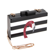 2017 New Flamingo Acrylic Bags Fashion Clutch Bag For Women Black White Stripe Acrylic Box Mini Chain Clutch Evening Bag(China)