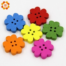 New!100pcs 2*0.4cm 4 Holes Flower Wooden Decorative Button Fit Sewing Scrapbooking Crafts Resin DIY Craft Buttons For Decoration