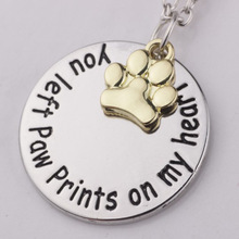 You Left Paw Print On My Heart Dog Necklace Memorial Tag Cat Necklaces & Pendants Silver Gold Color Women Choker Gift Lead Free
