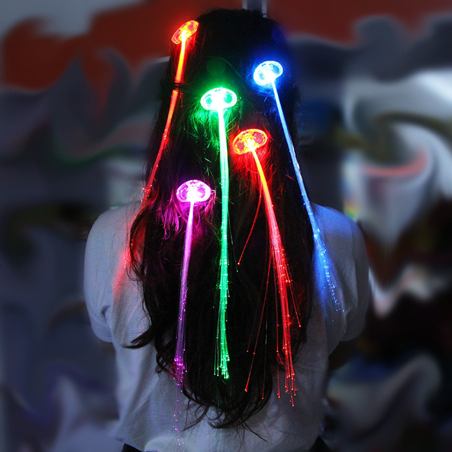 50pcs/lot RGB Flash Glow LED Braid Hairpin Novelty Decoration for Party Holiday, Hair Extension by Optical Fiber Free Shipping(China (Mainland))