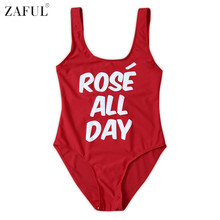 ZAFUL 2017 Hot Sexy Letter Print One Piece Swimwear Bathing Suit Women Backless Monokini Swimsuit Bodysuit traje de bano mujer