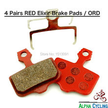 Mountain Bike Disc brake Pads for AVID Elixir R, CR, CR Mag, 1/3/5/7/9, X.0, XX Disc Brake, RED_RESIN, 4 Pairs / ORD