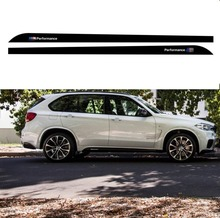 Gloss Matte Black 5D Carbon Fibre Vinyl M Sport Performance for BMW X5 F15 F85 2014-2016 Side Skirt Stickers Racing Stripe