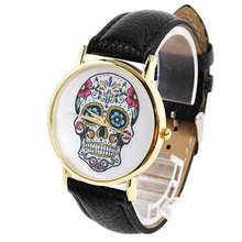 Skull Head Dial Leather Quartz Watch Vintage Students Watch Popular Wrist watch 8 Color Cheap Watches