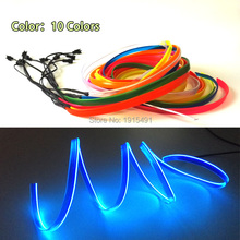 Free shipping 1m-5m Sewable 2.3mm skirt EL Wire Tron Glow Wire Easy Sew Tag Flexible Flickering led Neon Strip for Festival