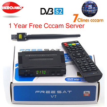 Satellite TV Receiver decoder Freesat V7 HD DVB-S2 + USB Wfi with 7 lines Europe CCCam account support full powervu cccam