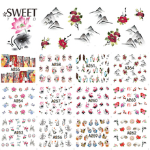 12Designs in 1 Chinese Painting Nail Stickers Water Transfer Decals Vintage Manicure Decorations DIY Nail Accessories LAA253-264