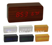 Original li&tai Motion Activated Wooden LED Clock with Temperature Display,Creative Wood USB/AAA battery Powered LED Alarm Clock