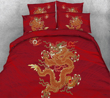 Traditional Chinese Wedding Bedding Sets Red 3D Dragon Comforter Cover Full Queen King Cal King Sizes Bed Linen 3/4PC 500TC Girl(China)