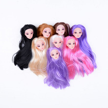 New Beauty Doll Head with Colorized straight Hair DIY Accessories For Barbie Dolls head 1/6 doll head for girl toy gift HOT SALE(China)