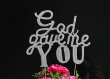 "BLING INITIAL Large Diamante Rhinestone Crystal Letter "" God gave me You"" Cake Topper For Wedding Party Decoration 1pcs"