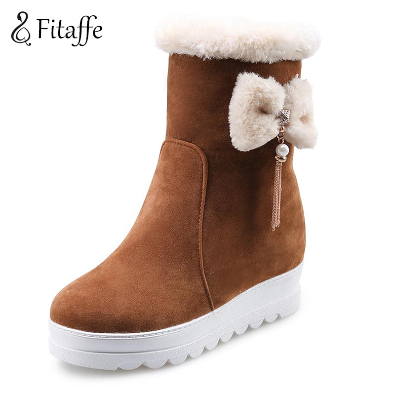 FITAFFE Shoes Woman Mid Calf Winter Snow Boots Butterfly Tassel Pendant Platfrom Woman Shoes Warm Plush 2017 Woman Boots AI073(China (Mainland))