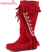 MEMUNIA 2018 newest mid calf boots women round toe 술 autumn winter boots 편안한 flat shoes woman warm 패션 boots(China)