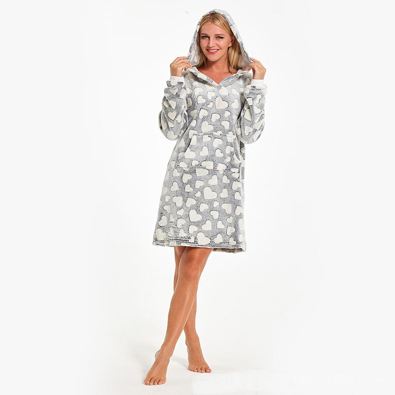 57a8fa9c7a Heart Print Coral Fleece Nightdress Women Hooded Pijama Mujer Slipover  Bathrobe Winter Babydoll Nighty Gary Night Dress Nightie