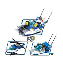Model building kits compatible with lego Police city Patrol Craft 3D block Educational model building toys hobbies for children(China)